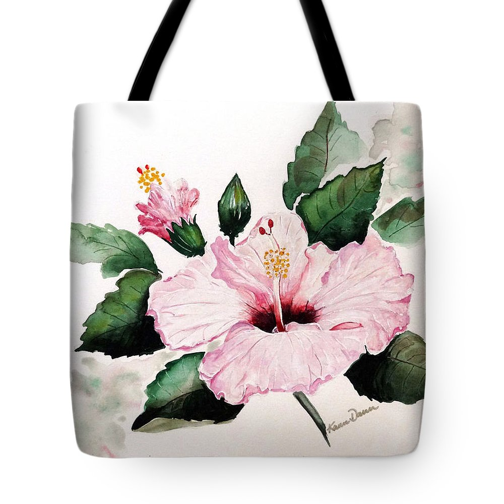 Hibiscus Painting  Floral Painting Flower Pink Hibiscus Tropical Bloom Caribbean Painting Tote Bag featuring the painting Pink Hibiscus by Karin Dawn Kelshall- Best