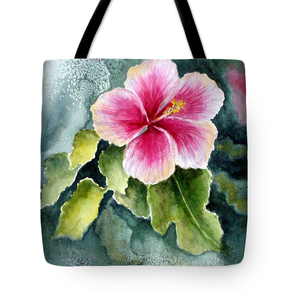 Hibiscus Tote Bag featuring the painting Pink Hibiscus by Marsha Elliott