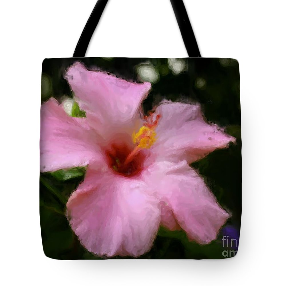 Flower Tote Bag featuring the painting Pink Hibiscus by Smilin Eyes Treasures