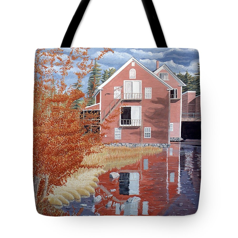 Autumn Tote Bag featuring the painting Pink House In Autumn by Dominic White