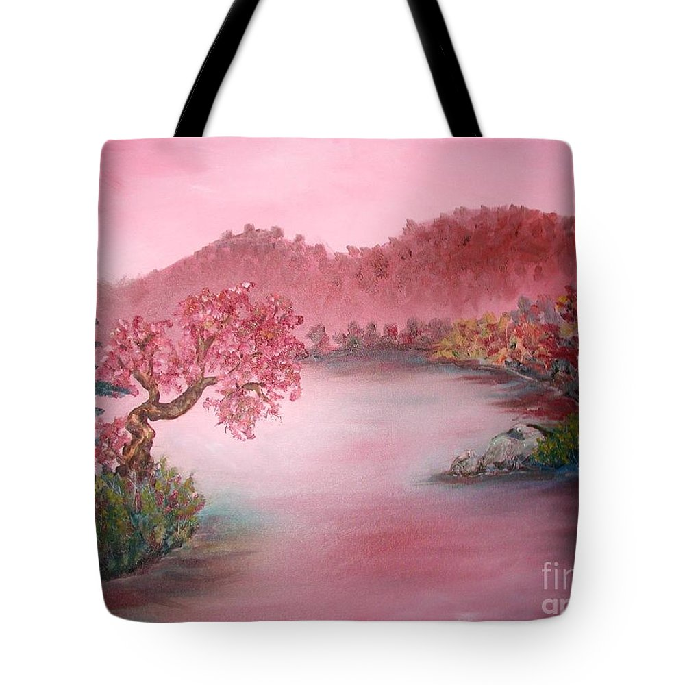 Lake Tote Bag featuring the painting Pink Lake by Emily Michaud