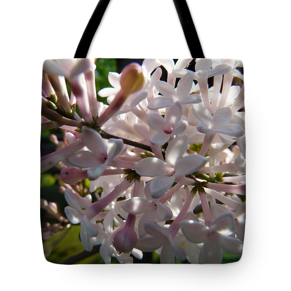 Flower Tote Bag featuring the photograph Pink Lilac Blossom by Valerie Ornstein