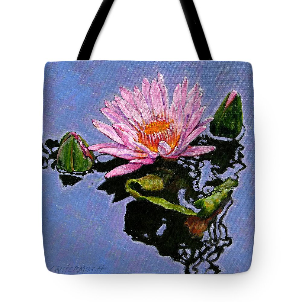 Water Lily Tote Bag featuring the painting Pink Lily with Dancing Reflections by John Lautermilch