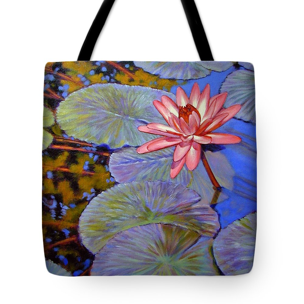 Pink Water Lily Tote Bag featuring the painting Pink Lily With Silver Pads by John Lautermilch