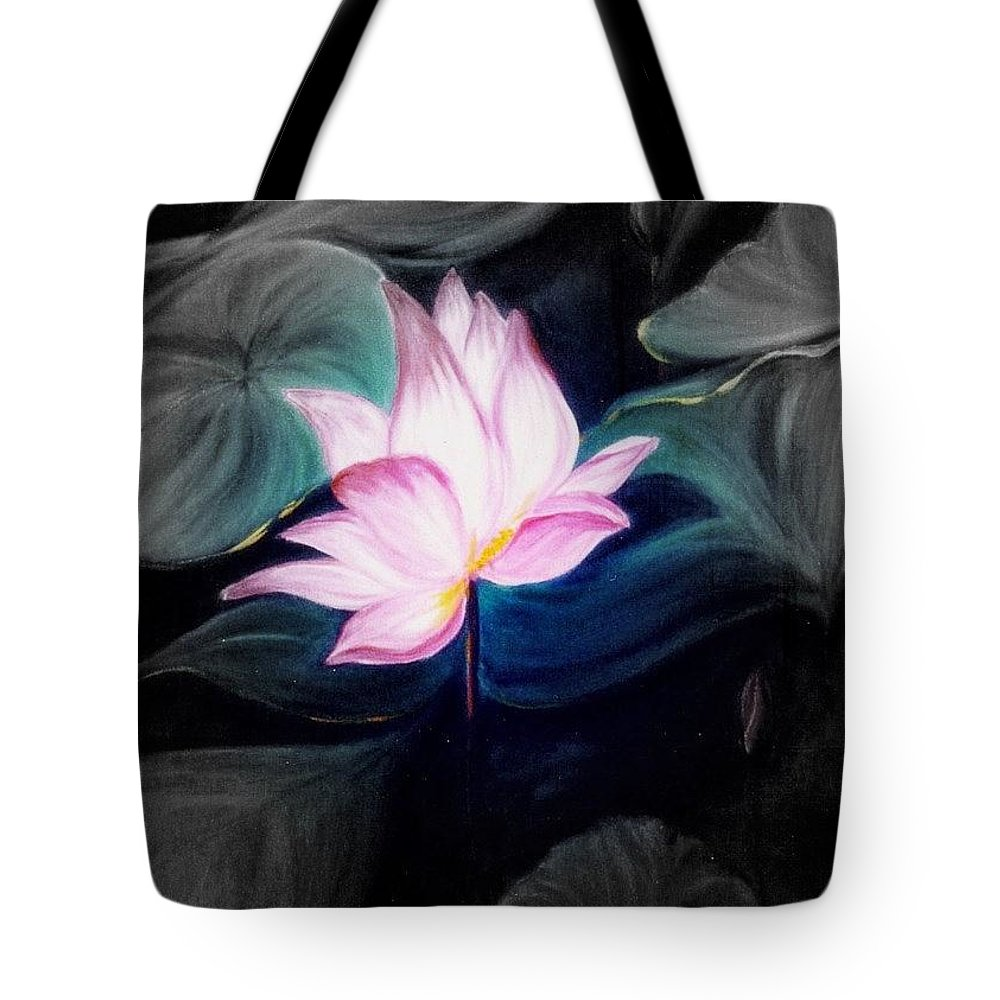 Lotus Tote Bag featuring the painting Pink Lotus by Dina Holland