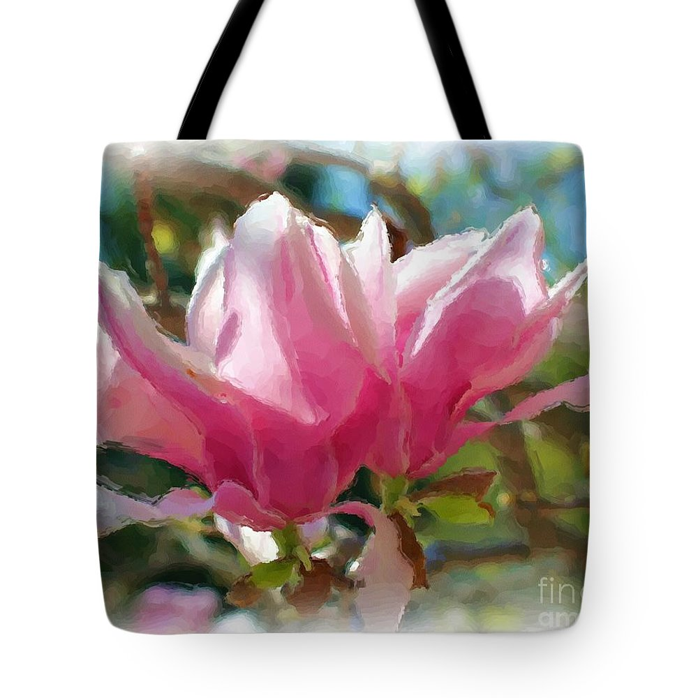 Flower Tote Bag featuring the painting Pink Magnolia Blossoms by Smilin Eyes Treasures