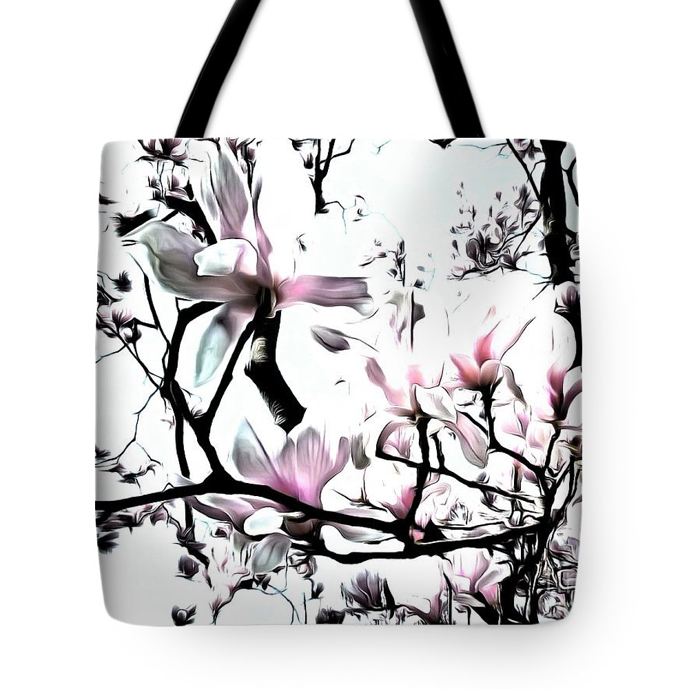 Pink Magnolia Tote Bag featuring the photograph Pink Magnolia - In Black And White by Janine Riley