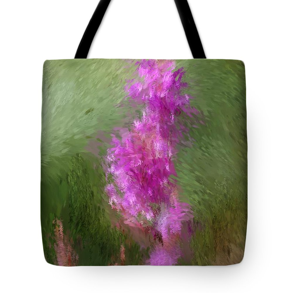 Abstract Tote Bag featuring the digital art Pink Nature Abstract by David Lane