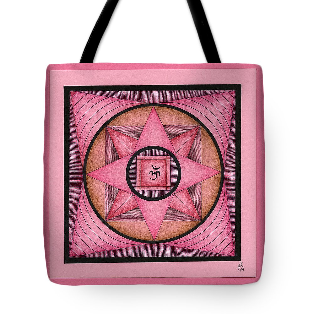 Mandala Tote Bag featuring the drawing Pink Om Thing by Elaine Tschuor