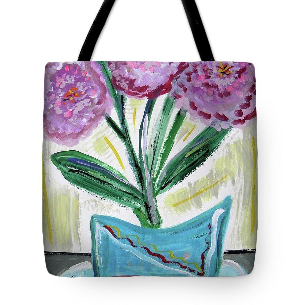 Floral Tote Bag featuring the painting Pink Peonies-gray Table by Mary Carol Williams