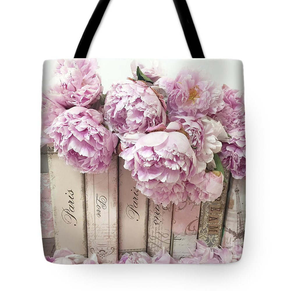 Paris Peonies Tote Bag Featuring The Photograph Pink Peonies Paris Books  Romantic Shabby Chic Wall Art