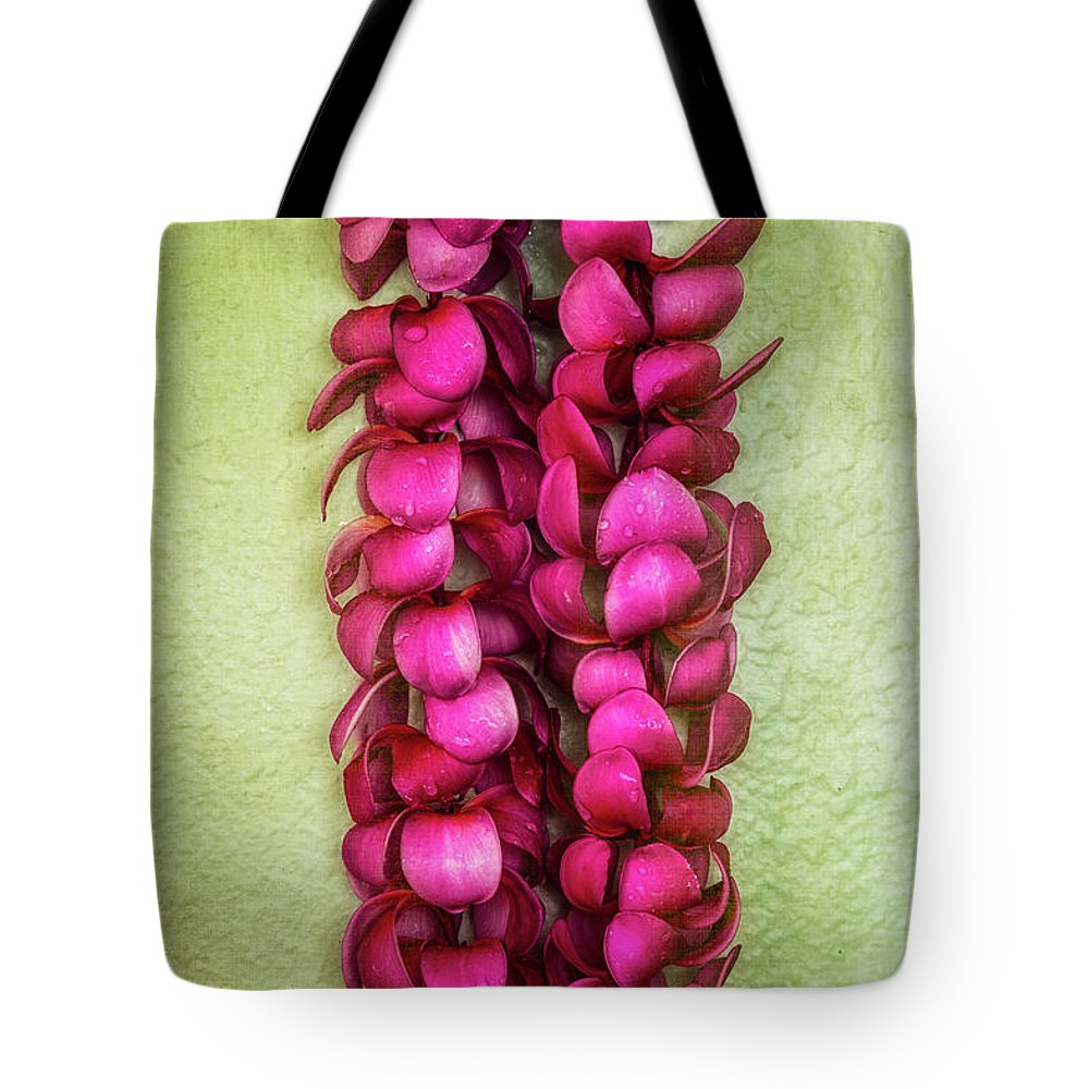 Floral Tote Bag featuring the photograph Pink Plumeria Lei by Jade Moon