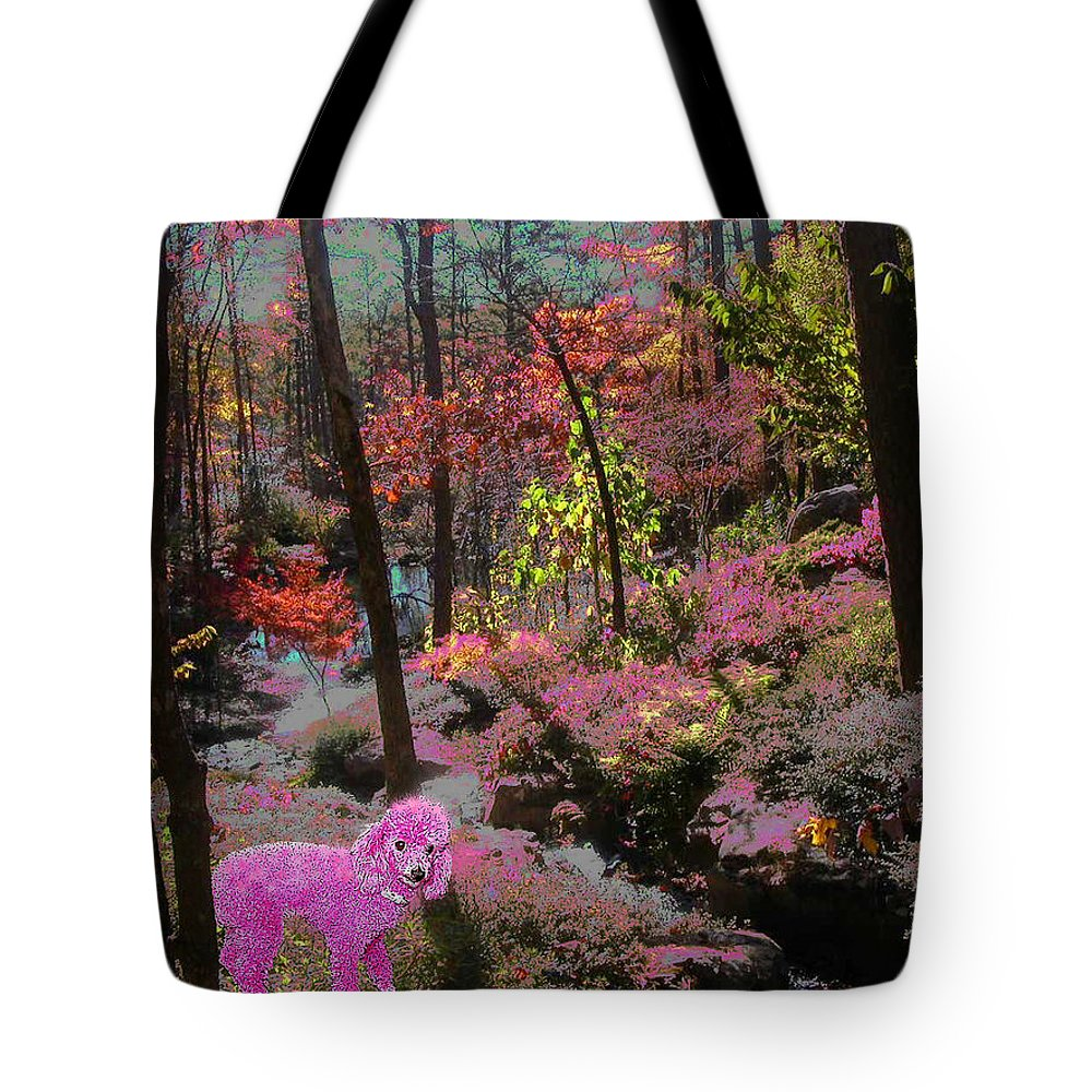 Pink Poodle Tote Bag featuring the photograph Pink Poodle Paradise by Anne Cameron Cutri