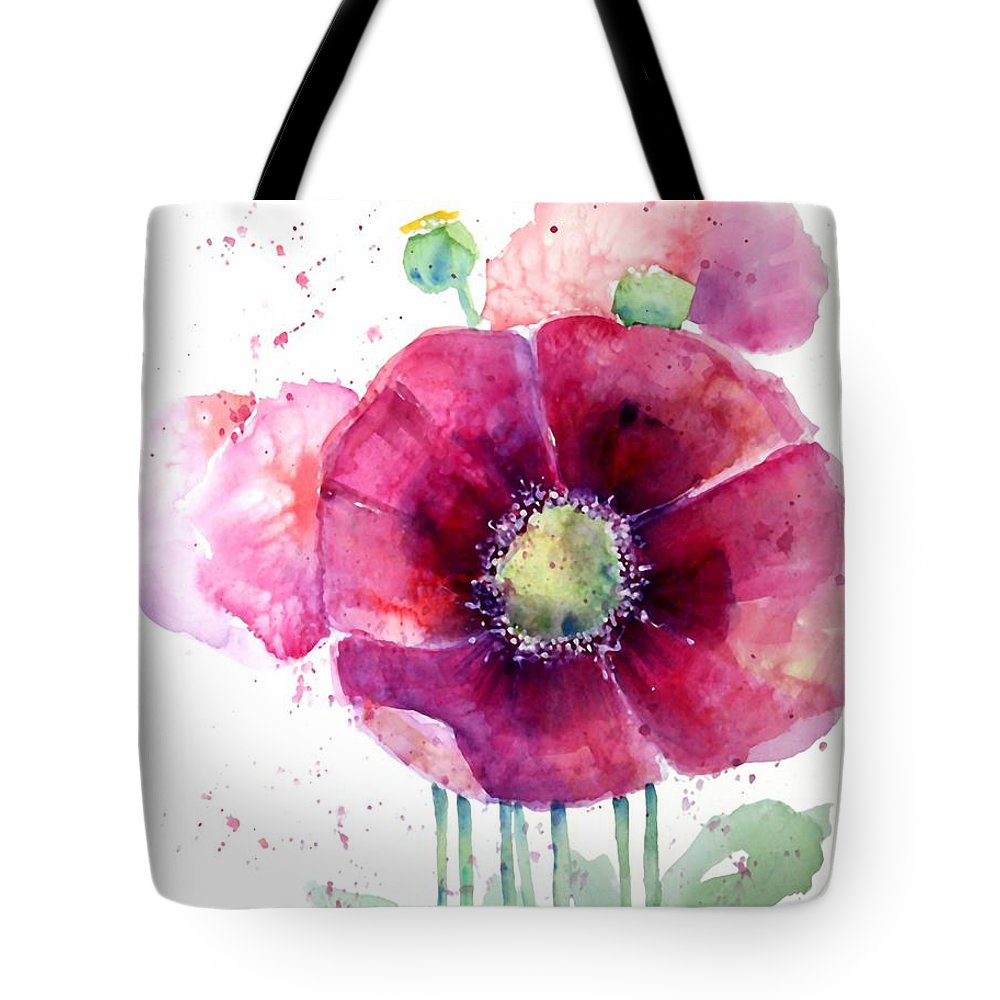 Poppy Tote Bag featuring the painting Pink Poppies by Arline Wagner