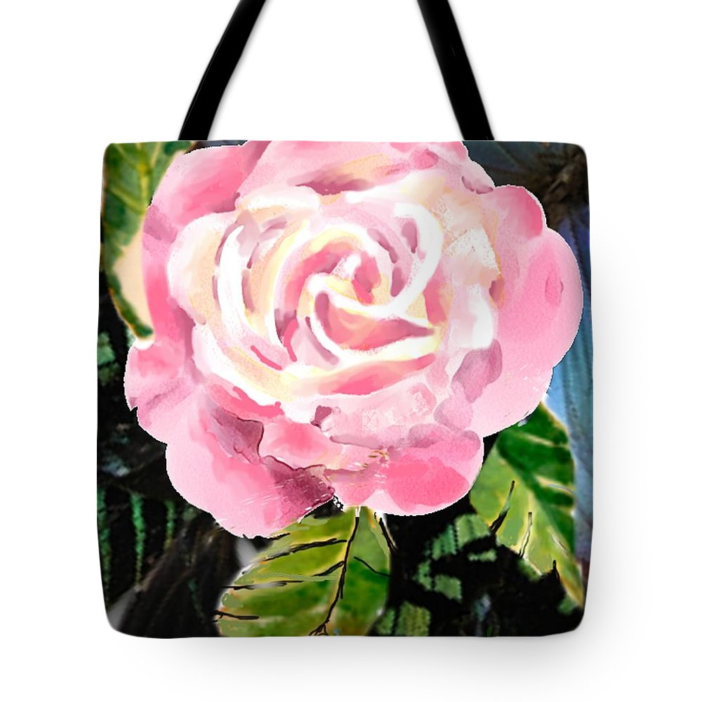 Rose Tote Bag featuring the digital art Pink Rose by Arline Wagner