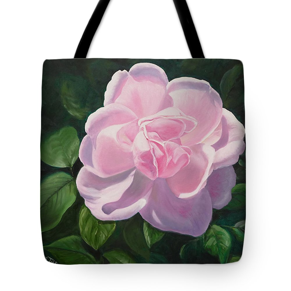 Tote Bag featuring the painting Pink Rose by Lyn Tietz