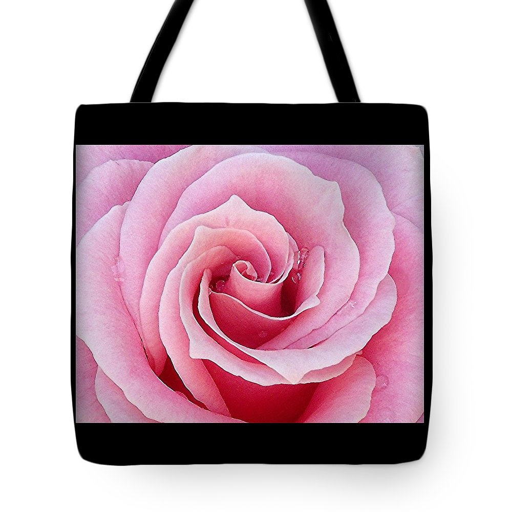 Rose Tote Bag featuring the digital art Pink Rose With Raindrops by Holly Winters