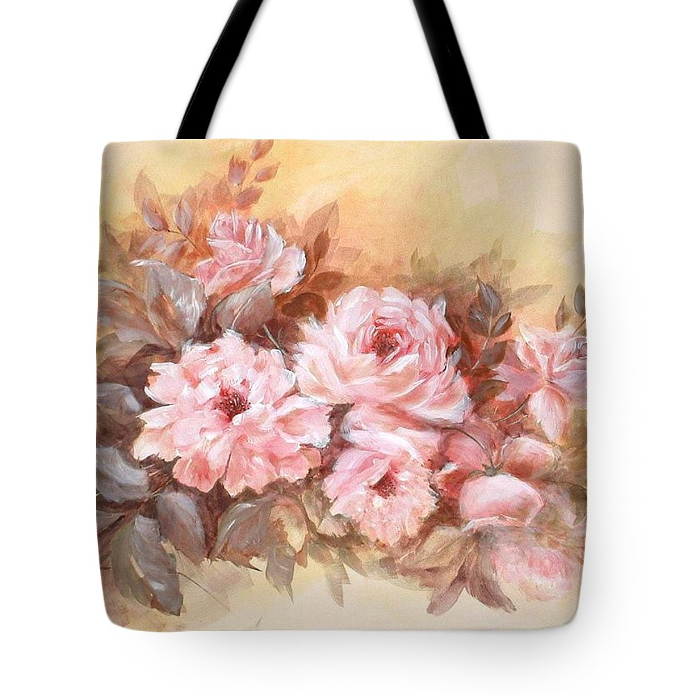 Floral Tote Bag featuring the painting Pink Roses by Patricia Rachidi