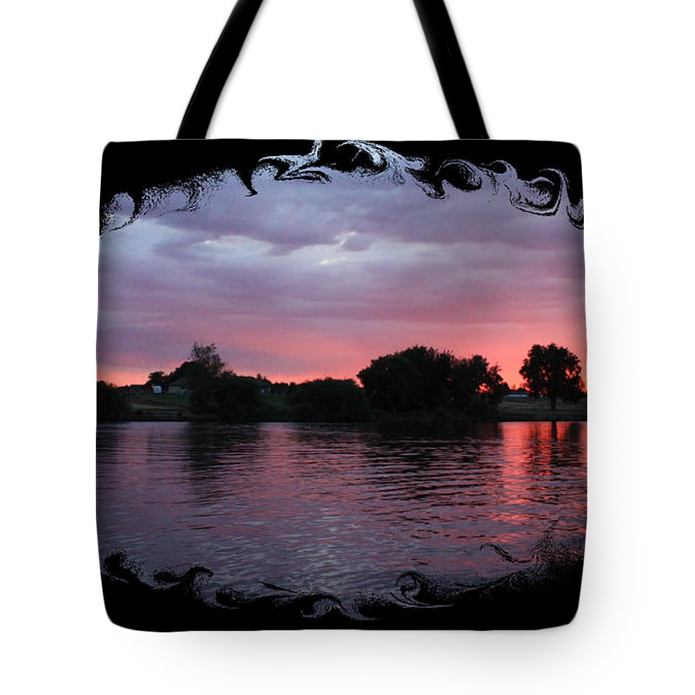 Sunset Tote Bag featuring the photograph Pink Sunset Panorama With Black Framing by Carol Groenen