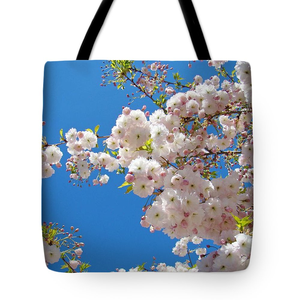 �blossoms Artwork� Tote Bag featuring the photograph Pink Tree Blossoms Art Prints 55 Spring Flowers Blue Sky Landscape by Baslee Troutman
