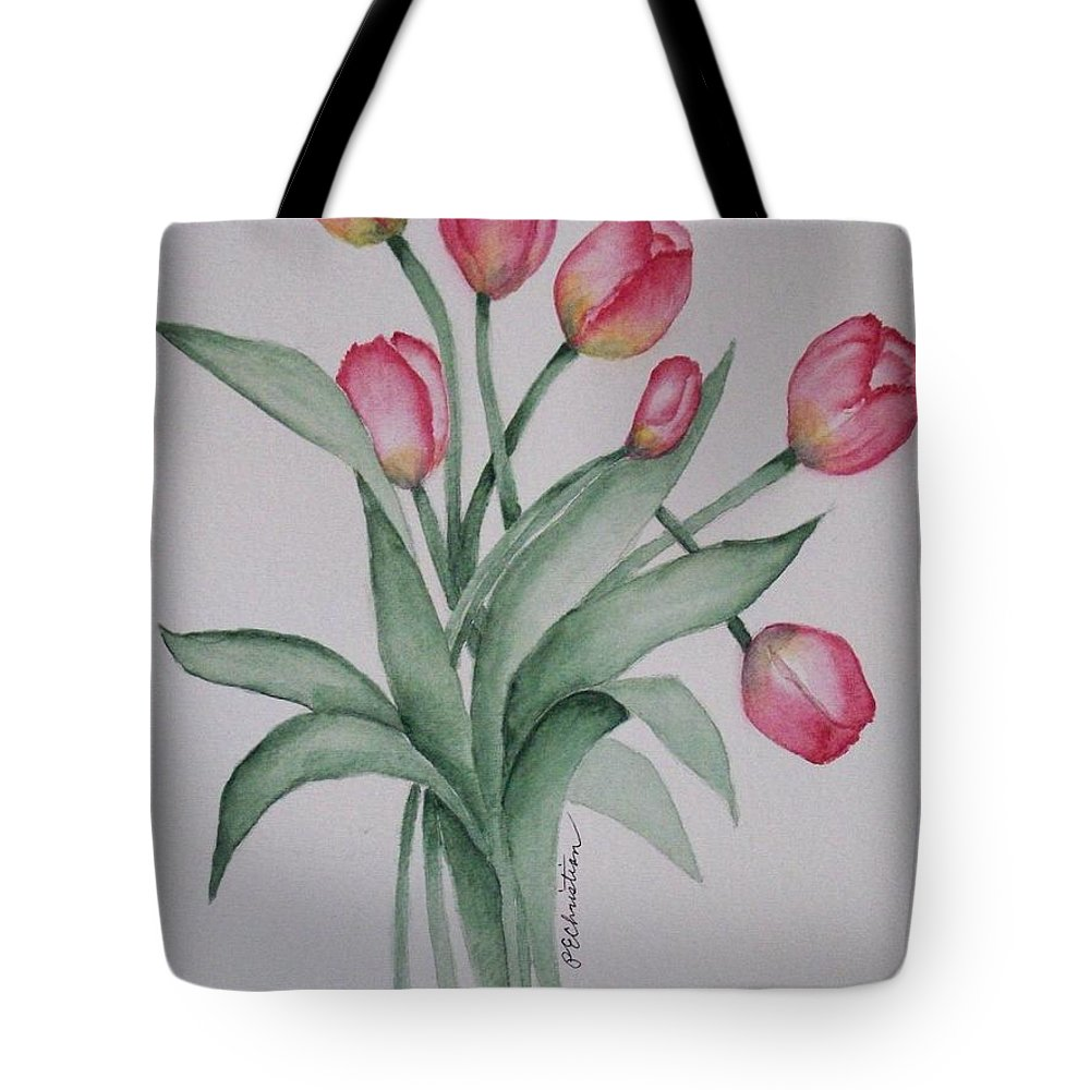 Florals Tote Bag featuring the painting Pink Tulips by Phyllisa Christian
