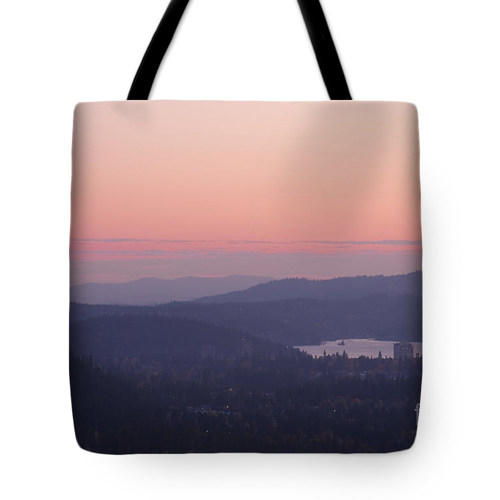 Pink Tote Bag featuring the photograph Pink Twilight by Idaho Scenic Images Linda Lantzy