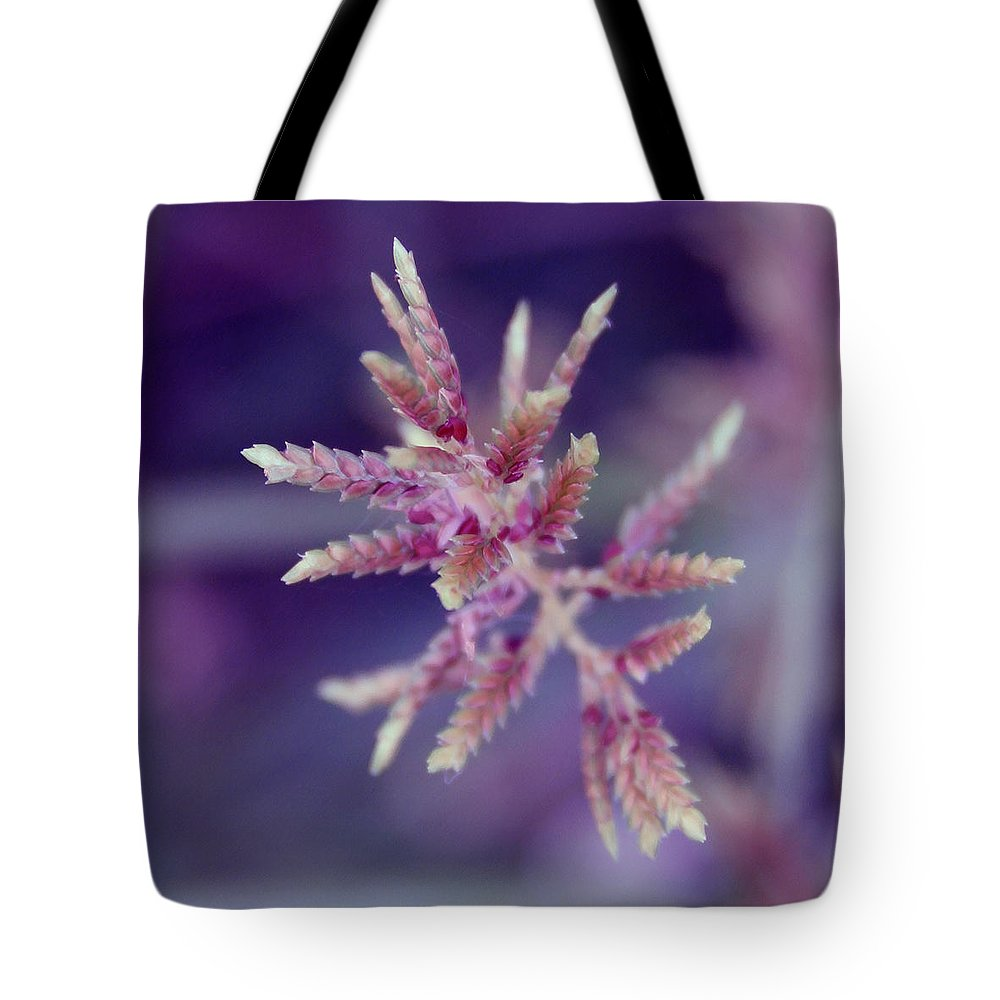 Nature Tote Bag featuring the photograph Pink Weed by Linda Sannuti