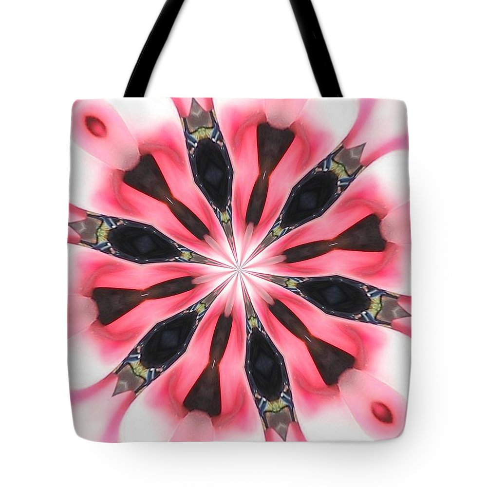 Tote Bag featuring the digital art Pink White Petals by Jeffrey Todd Moore