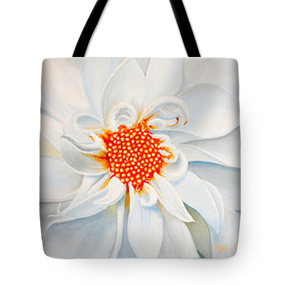 Dahlias Tote Bag featuring the painting Pink White And Red by Olga Smith