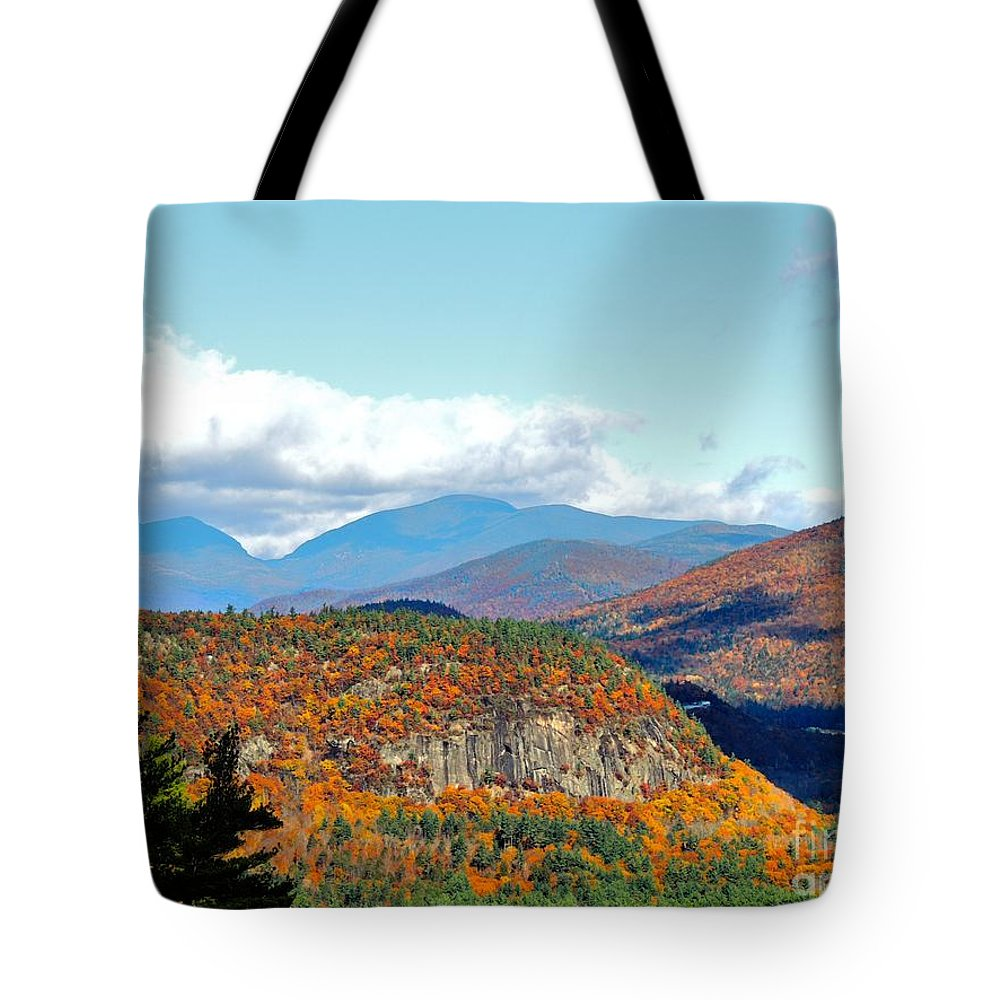 White Mountains Tote Bag featuring the photograph Pinkham Notch by Mim White
