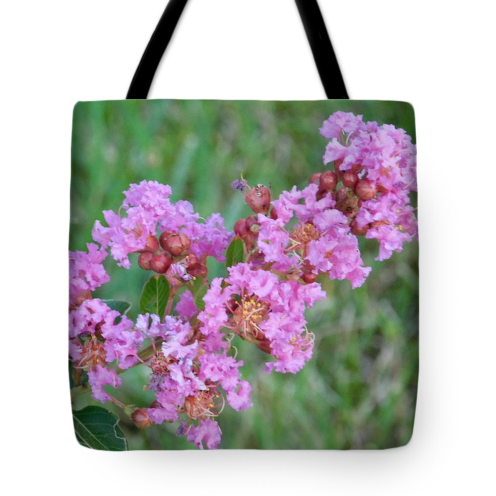 Flower Tote Bag featuring the photograph Pinkish Red Flower Bloom Close Up by Gregory Farmer