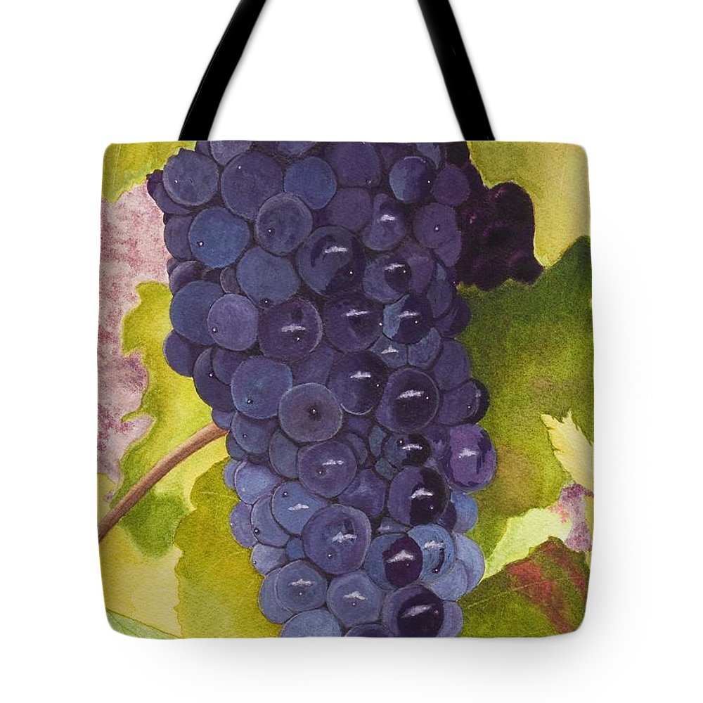 Grapes Tote Bag featuring the painting Pinot Noir Ready For Harvest by Mike Robles