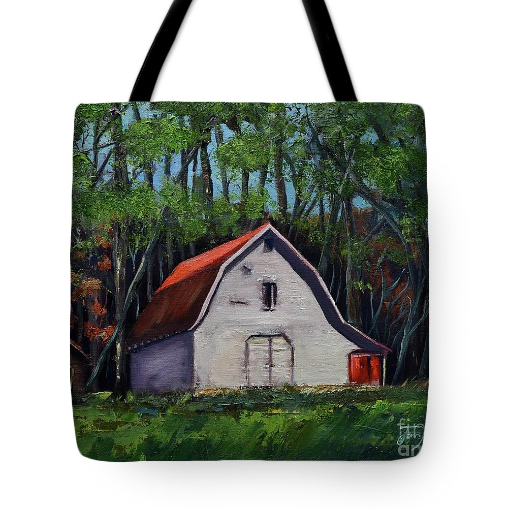 Pinson Barn Tote Bag featuring the painting Pinson Barn At Harrison Park by Jan Dappen