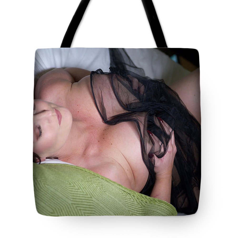 Beautiful Tote Bag featuring the photograph Pinup Model Alicia Maria Rose In Black Lace by Alicia Maria Rose