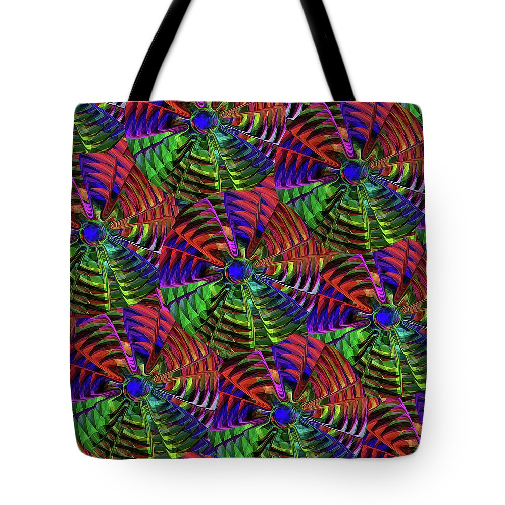 Tote Bag featuring the mixed media Pinwheel Red by Wagl Store
