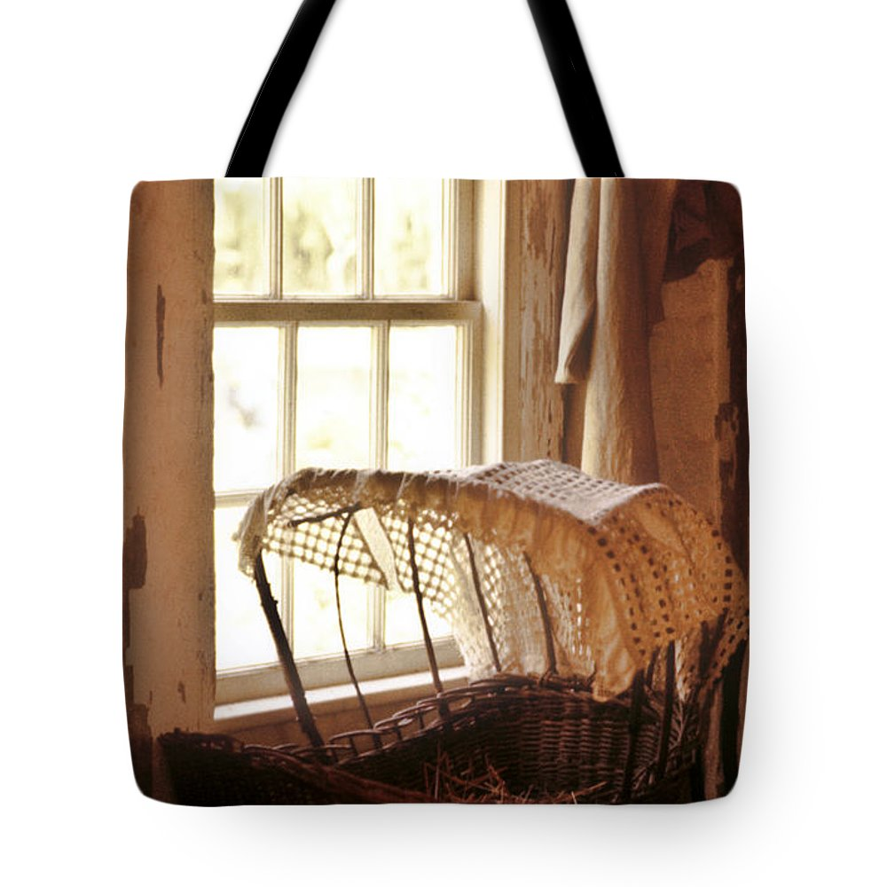 Pioneer Tote Bag featuring the photograph Pioneer Baby Bassinet by Douglas Barnett