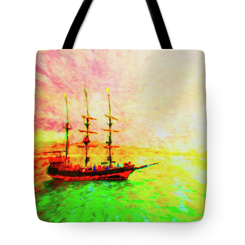 Pirate Ship Tote Bag featuring the photograph Pirate Ship by Jerome Stumphauzer