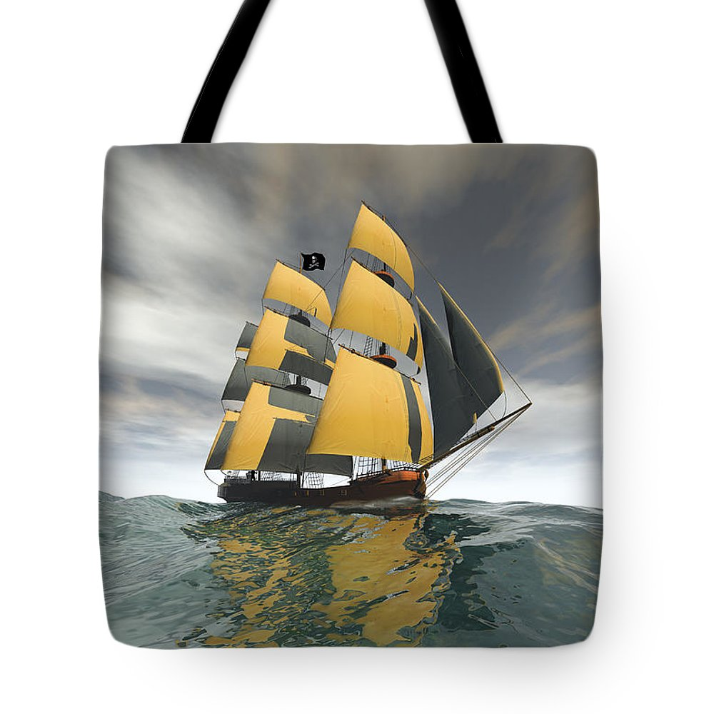 Pirate Tote Bag featuring the digital art Pirate Ship On The High Seas by Carol and Mike Werner