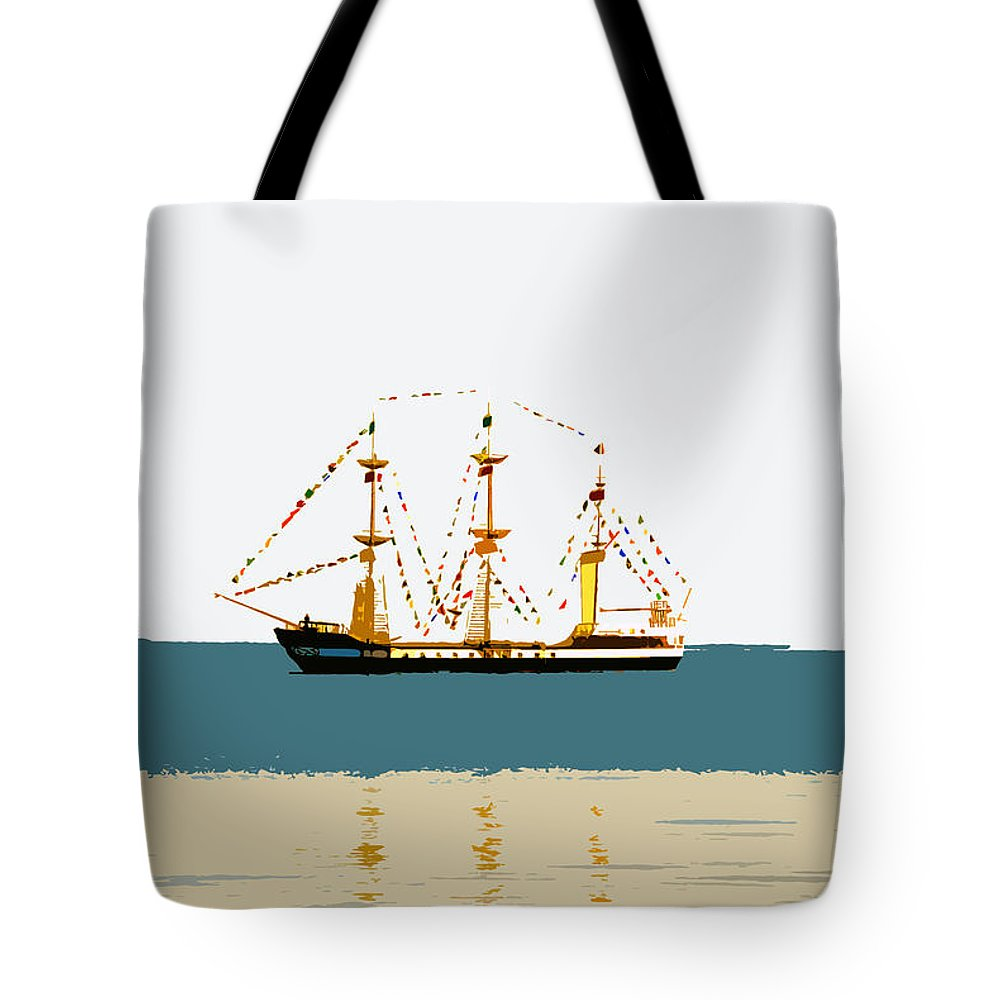Pirate Ship Tote Bag featuring the painting Pirate Ship On The Horizon by David Lee Thompson
