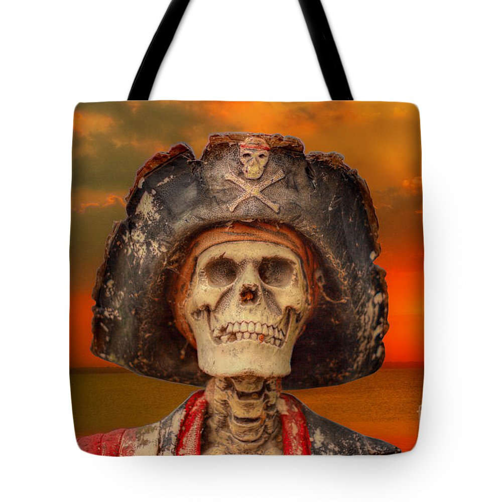 Pirate Tote Bag featuring the digital art Pirate Skeleton Sunset by Randy Steele
