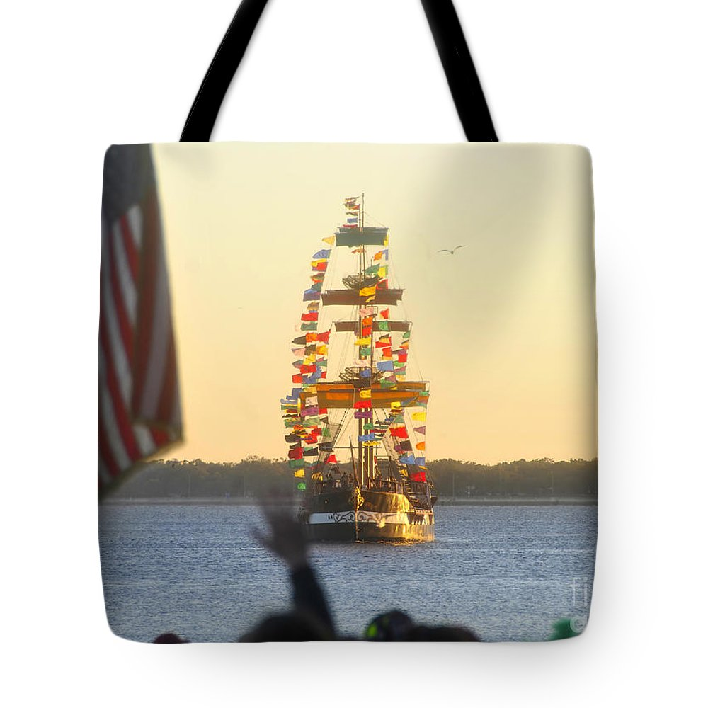 Gasparilla Children's Parade Tote Bag featuring the photograph Pirate's Arrival by David Lee Thompson