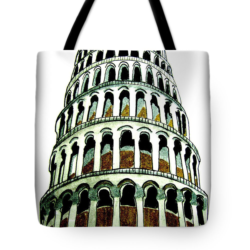 Europe Tote Bag featuring the drawing Pisa Erected by Patricia Arroyo
