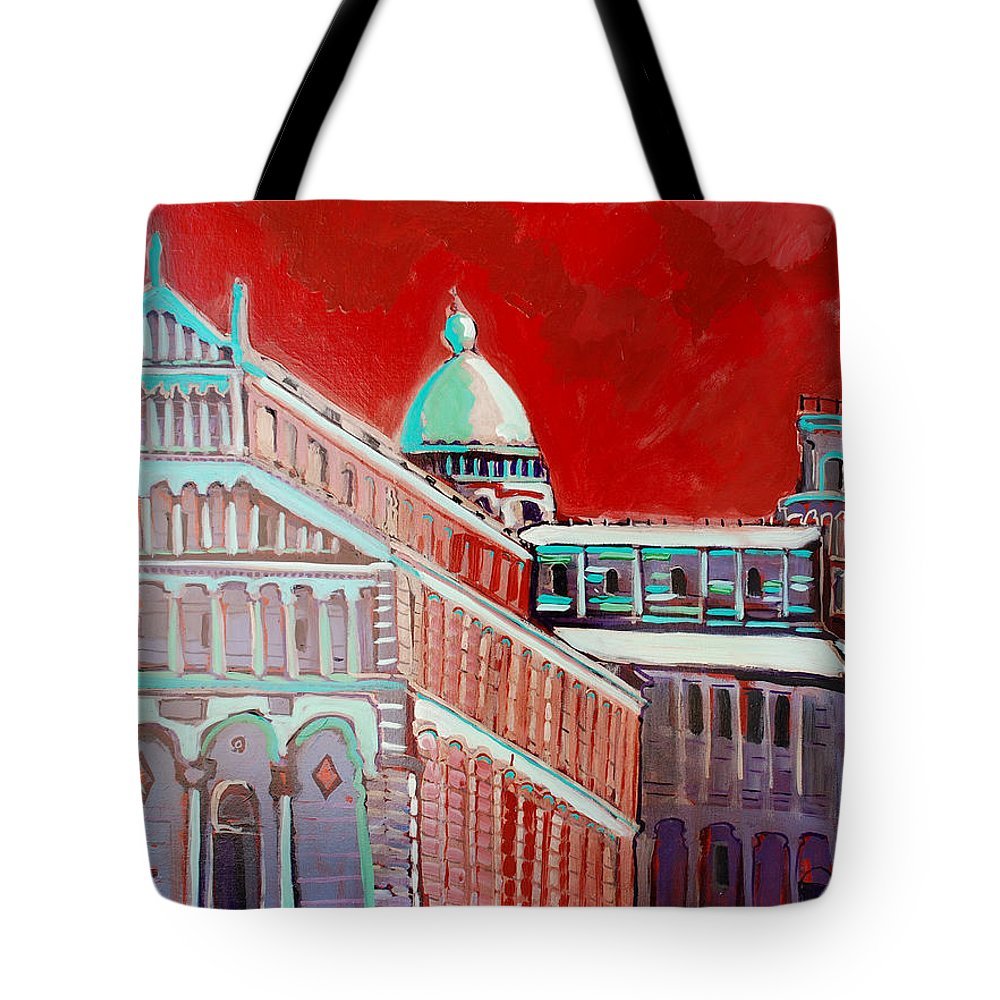 Pisa Tote Bag featuring the painting Pisa by Kurt Hausmann