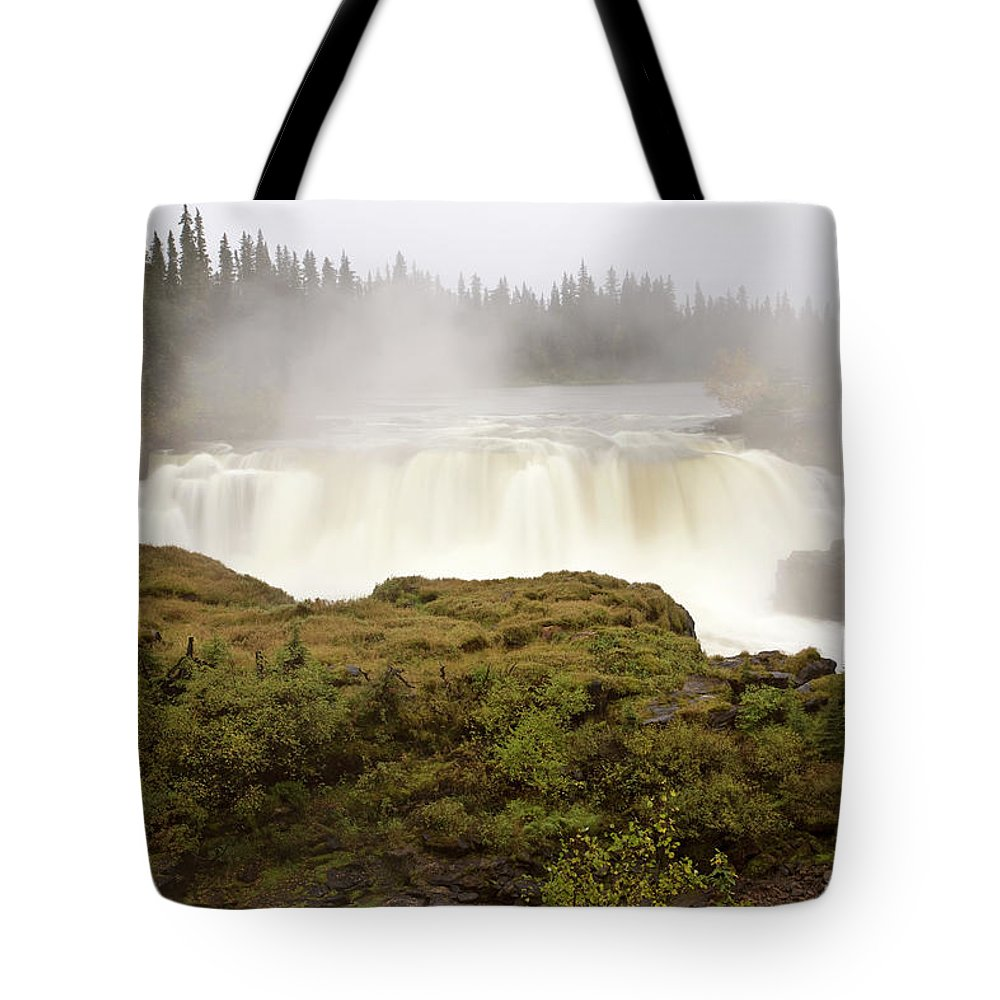 Water Tote Bag featuring the digital art Pisew Falls Northern Manitoba Canada by Mark Duffy