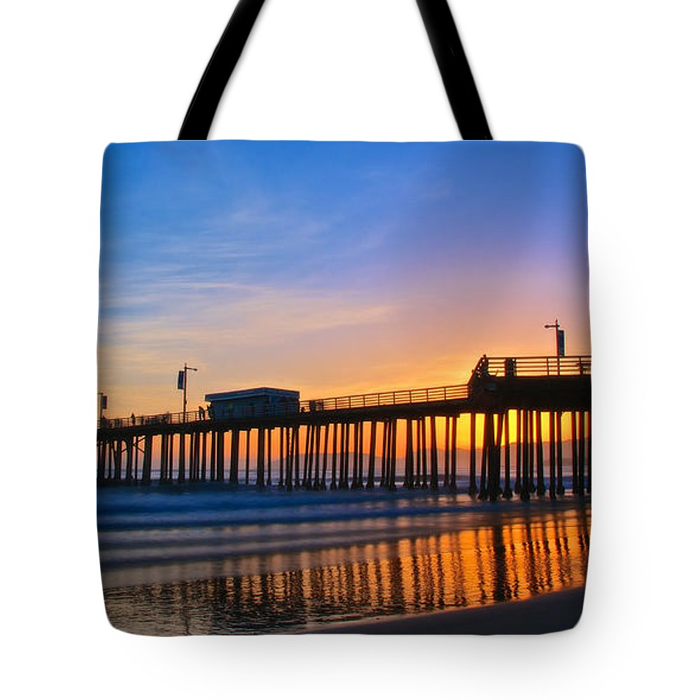 Nature Tote Bag featuring the photograph Pismo Beach and Pier Sunset by Zayne Diamond Photographic