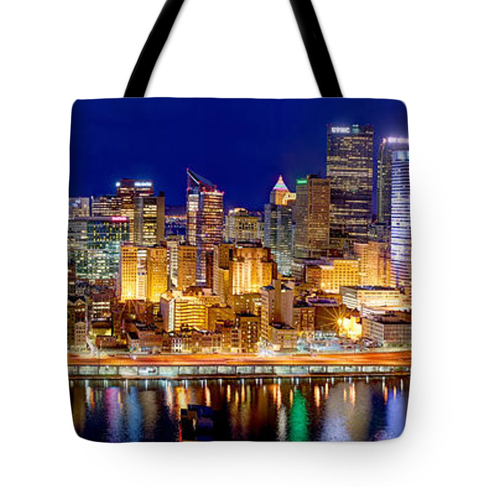 Pittsburgh Skyline At Night Tote Bag featuring the photograph Pittsburgh Pennsylvania Skyline At Night Panorama by Jon Holiday