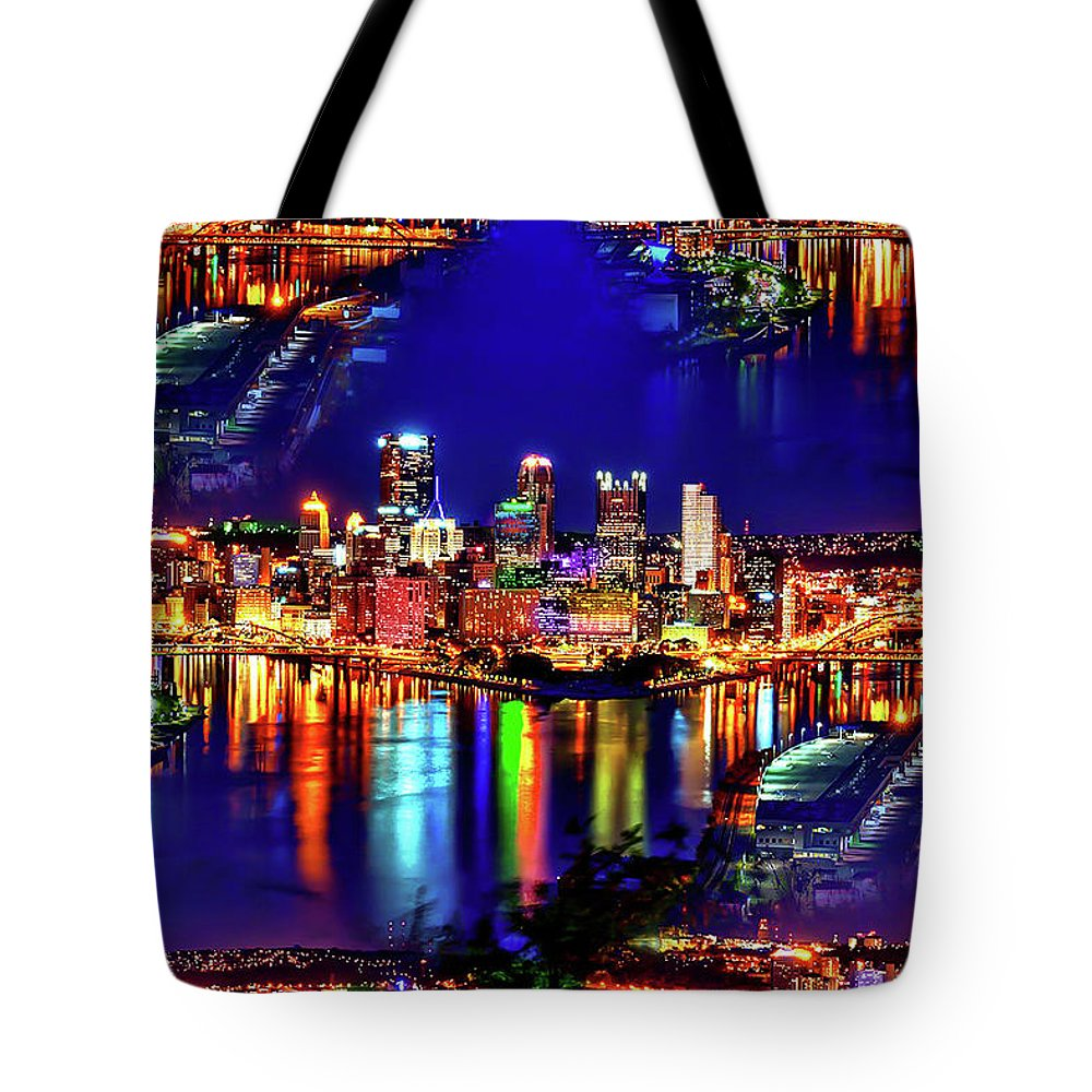 World's Tote Bag featuring the digital art Pittsburgh Skyline Art by Ron Fleishman
