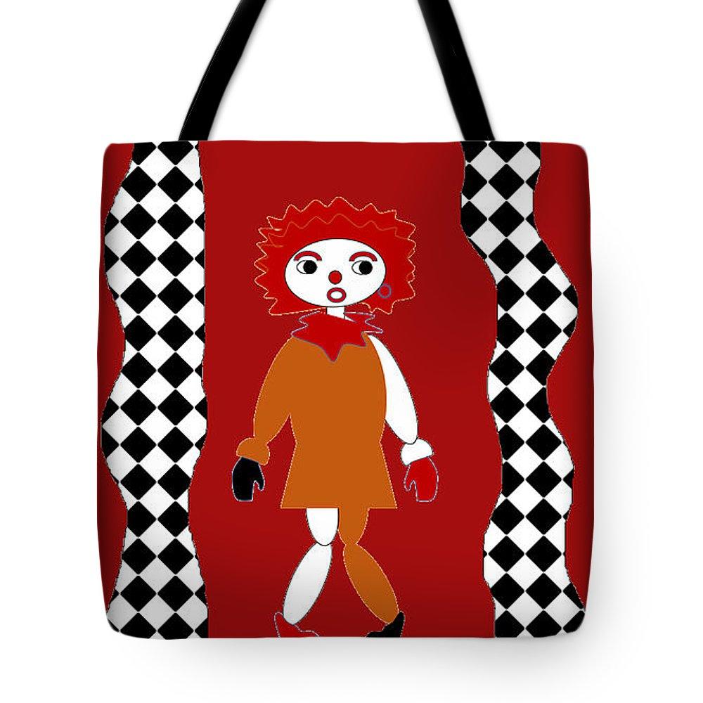 Clown Tote Bag featuring the digital art Pittypat Clown by Shirlena Rudder