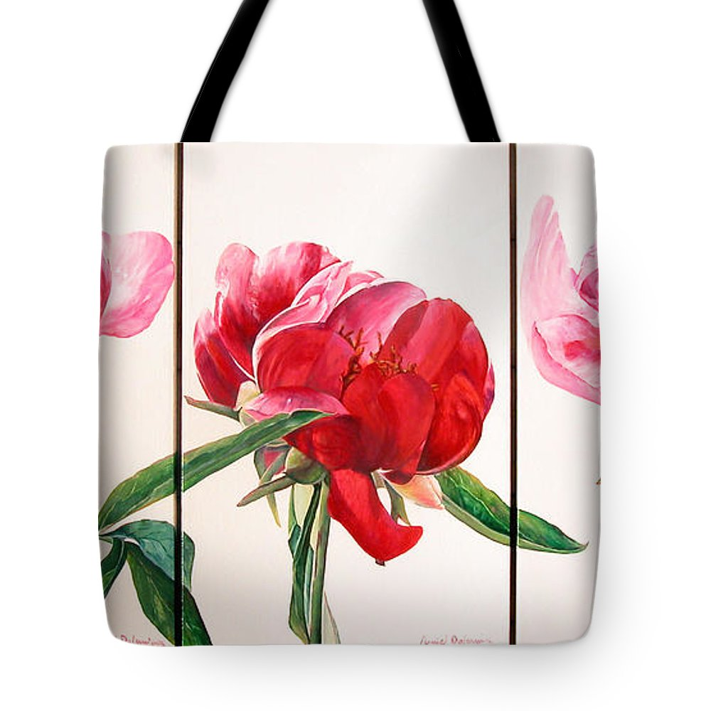 Floral Painting Tote Bag featuring the painting Pivoines by Muriel Dolemieux