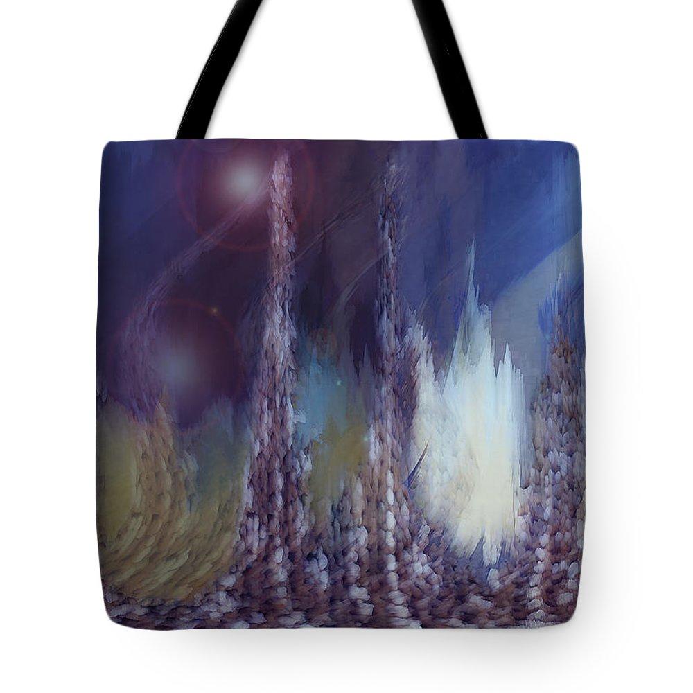 Abstract Tote Bag featuring the digital art Pixel Dream by Linda Sannuti